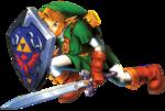 Link se protégeant derrière son bouclier