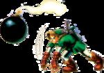 Link lançant une bombe
