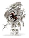 Link chevauchant Epona devant l'ombre des boss