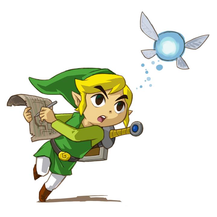 Link suivant Ciela avec sa carte (Artwork - Personnages - Phantom Hourglass)