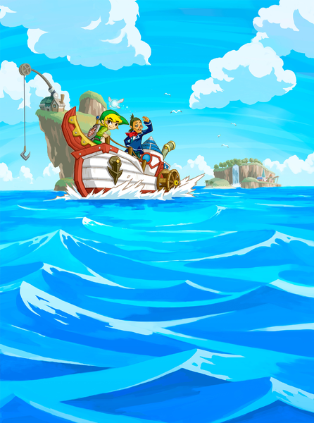 Link, Ciela et Linebeck sillonnant les mers (Artwork - Illustrations - Phantom Hourglass)
