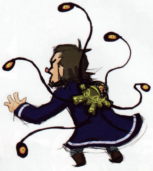 Linebeck attaqué par Bellum (Artwork - Concepts Arts de Personnages - Phantom Hourglass)