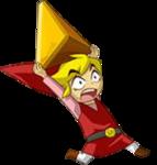 Link rouge portant une gemme