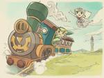 Link et Zelda spectrale à bord de la Locomotive des Dieux