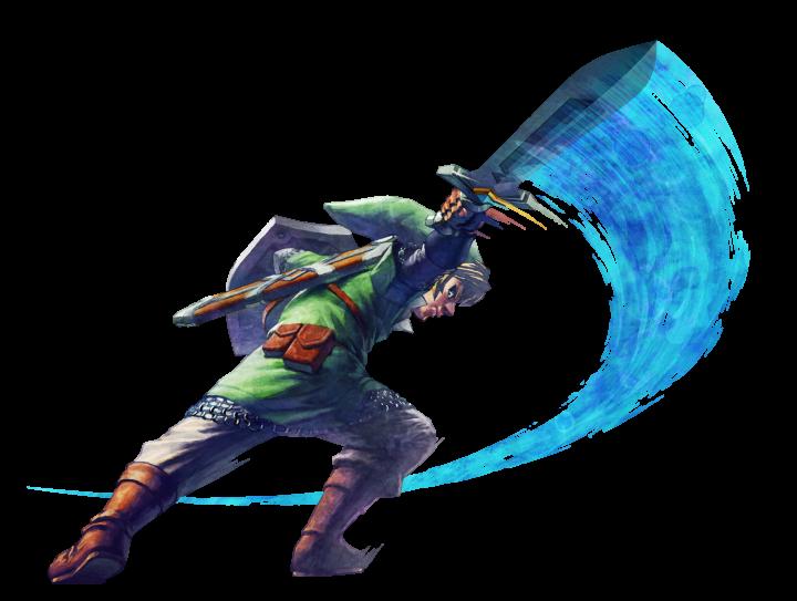 Link regardant derrière lui faisant une attaque horizontale (Artwork - Link - Skyward Sword)