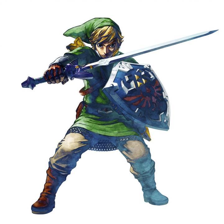 Link préparant à recevoir une attaque (Artwork - Link - Skyward Sword)