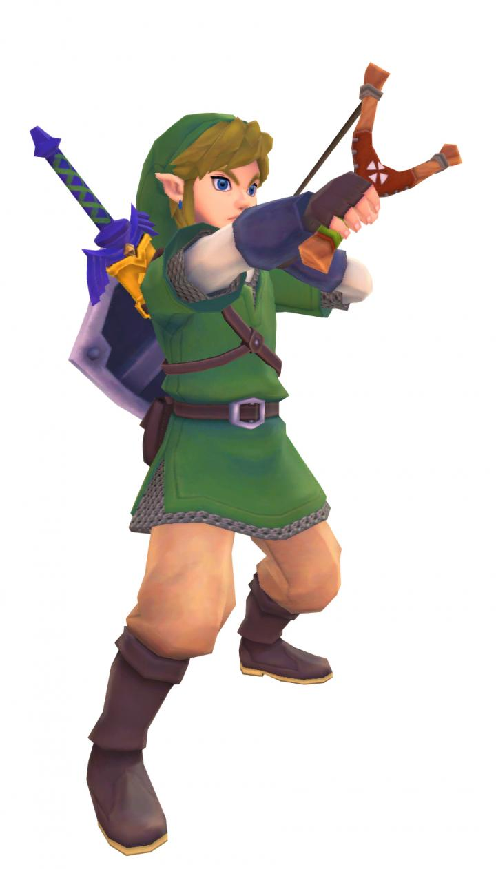 Link tirant au lance-graine (Artwork - Link - Skyward Sword)
