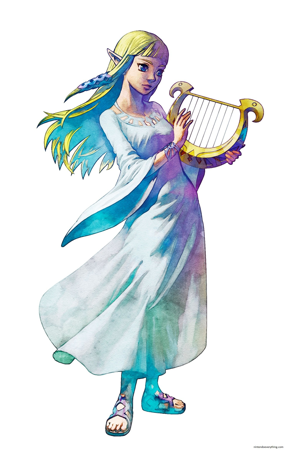 Zelda et la lyre des déesses (Artwork - Zelda - Skyward Sword)