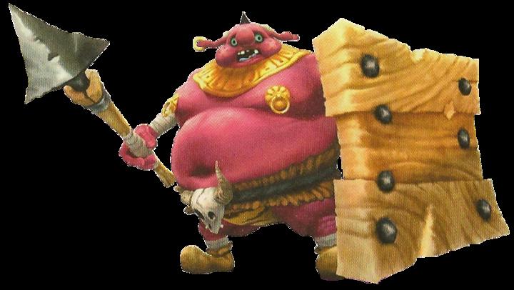 Un Moblin équipé d'une lance d'un bouclier de bois (Artwork - Ennemis - Skyward Sword)