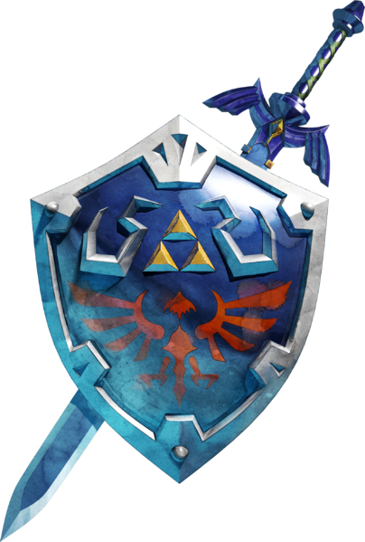 L'épée de légende et le bouclier d'Hylia (Artwork - Objets - Skyward Sword)