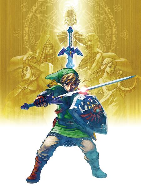 Link se préparant à une attaque avec les silhouettes de Zelda, Impa, Ergo et Fay (Artwork - Illustrations - Skyward Sword)