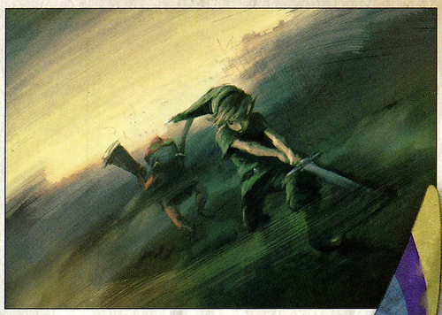 Link enfant attaquant un Bokoblin (Artwork - Link - Skyward Sword)