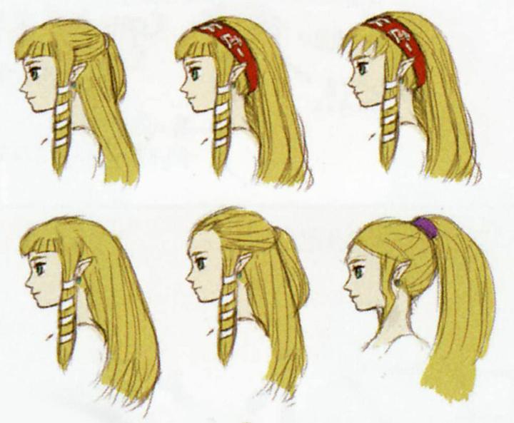 Différentes propositions de chevelure de Zelda (Artwork - Zelda - Skyward Sword)