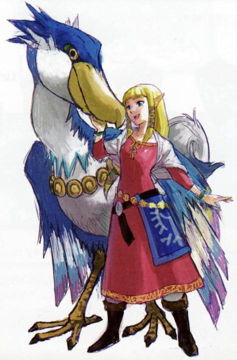 Zelda avec son célestrier (Artwork - Zelda - Skyward Sword)