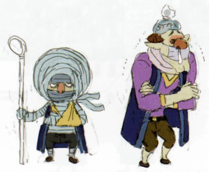 Concept art de Manda et Darin (Artwork - Habitants de Célesbourg - Skyward Sword)