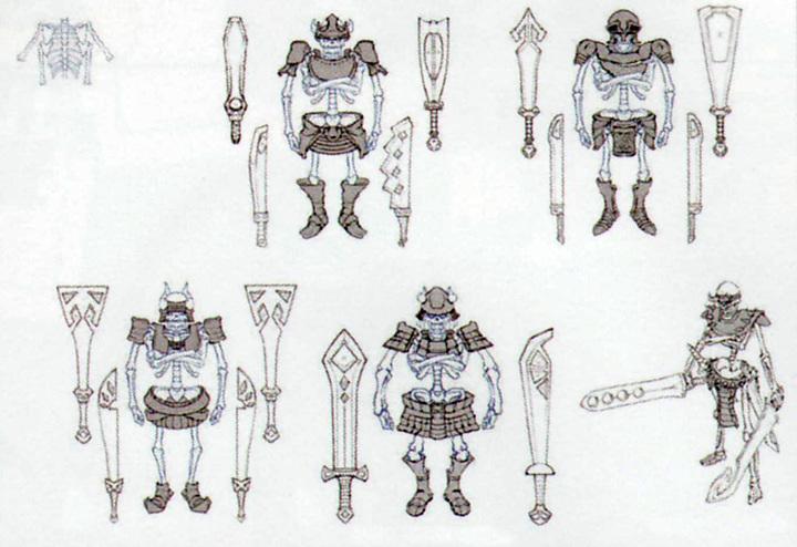 Croquis de Maître Stalfos (Artwork - Mini-boss et boss - Skyward Sword)