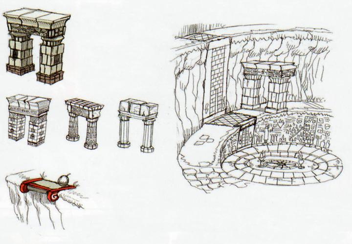 Le vallon du Sceau avec des arcades (Artwork - Concept Arts d'Hyrule - Skyward Sword)