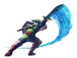 Link regardant derrière lui faisant une attaque horizontale