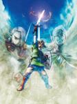 Link levant son épée avec les silhouettes de Fay et de Ghirahim