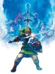 Link se préparant à une attaque avec les silhouettes de Zelda, Impa, Ergo et Fay