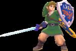 Link utilisant le bouclier d'Hylia