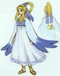 Proposition d'une robe bleutée de prêtresse d'Hylia de Zelda