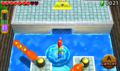 Screenshot de Tri Force Heroes : Niveau 2-1 Le Fort Secret du Lac
