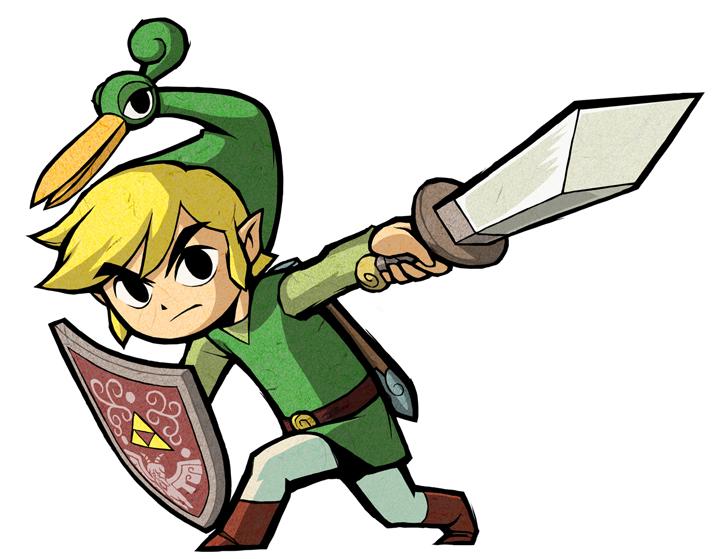 Link fendant son épée (Artwork - Artworks de Link - The Minish Cap)