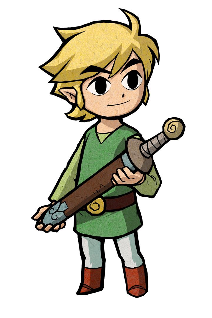 Link tenant son épée (Artwork - Artworks de Link - The Minish Cap)