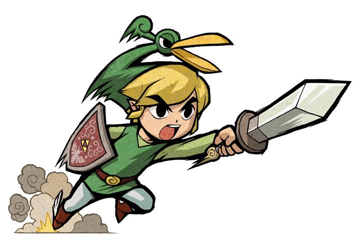Link en pleine attaque (Artwork - Artworks de Link - The Minish Cap)