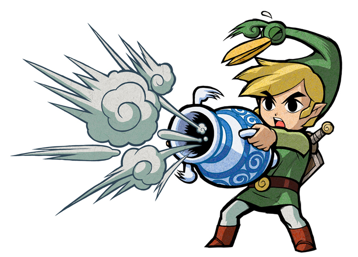 Link utilisant le Pot Magique (Artwork - Artworks de Link - The Minish Cap)