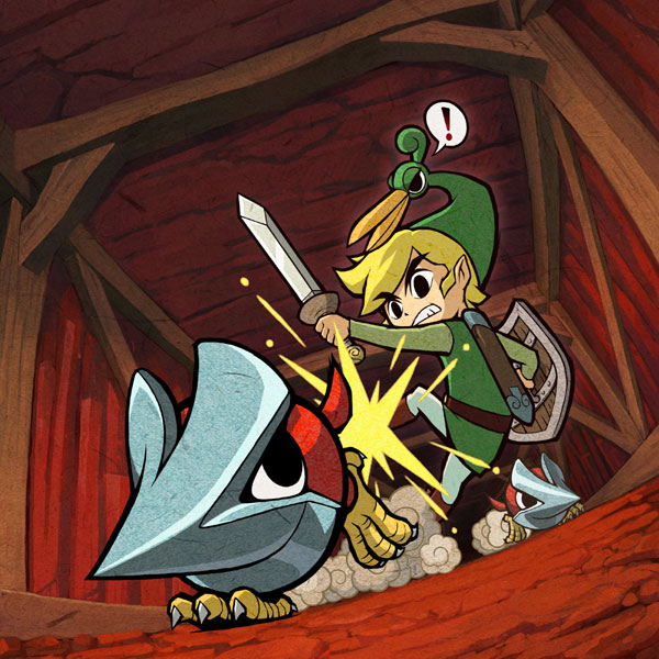 Link évitant des helmasaurs (Artwork - Illustrations - The Minish Cap)