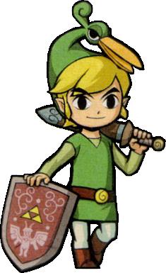 Link s'appuyant sur son bouclier (Artwork - Artworks de Link - The Minish Cap)