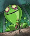 Link fuyant un Blob Vert lui semblant gigantesque