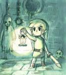 Link s'éclairant grâce à sa lanterne