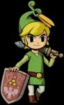 Link s'appuyant sur son bouclier