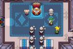 Link, la statue de Zelda et le roi, dans la salle du trône