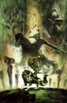 Concept art d'une illustration présentant les protagonistes principaux
