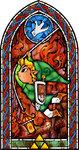 Vitraux représentant Link se balançant sur une corde