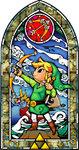 Vitraux représentant Link tirant à l'arc