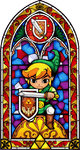 Vitraux représentant Link prenant une pose défensive