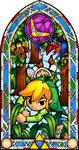 Vitraux représentant Link rampant dans la forêt