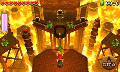 Capture d'écran de Tri Force Heroes : exemple d'interaction à trois joueurs