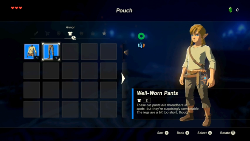 Menu de sélection des tenues dans The Legend of Zelda : Breath of the Wild