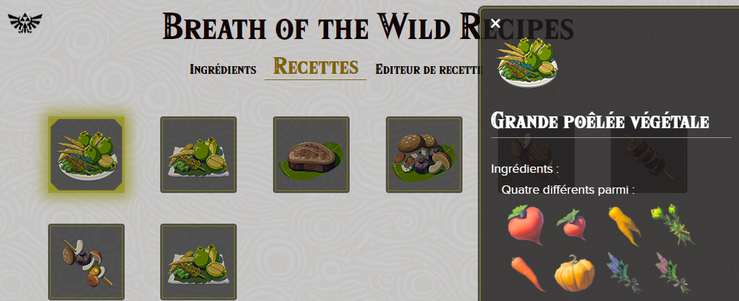 Les recettes - Breath of the Wild - Puissance-Zelda