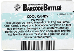 Une carte Barcode Battler : Cool Candy (verso)