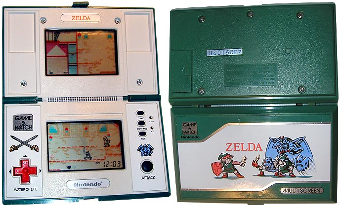 Console ouverte vue de face et de dos de Zelda Game and Watch